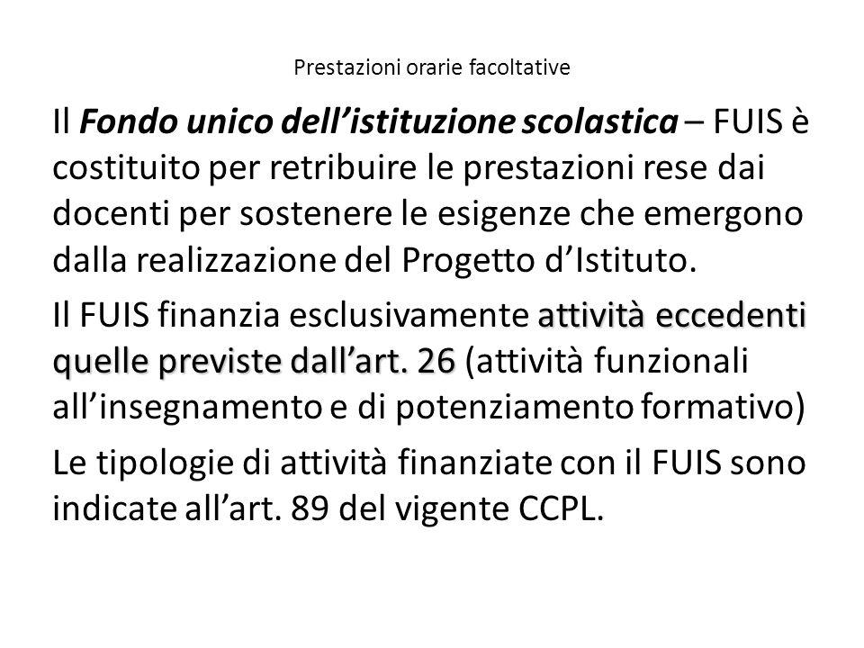 Prestazioni orarie facoltative Il Fondo unico dell'istituzione scolastica – FUIS è costituito per retribuire le prestazioni rese dai docenti per soste