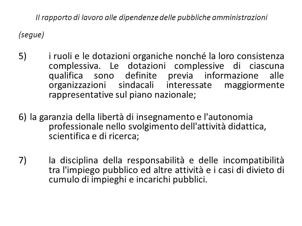 Il rapporto di lavoro alle dipendenze delle pubbliche amministrazioni (segue) 5)i ruoli e le dotazioni organiche nonché la loro consistenza complessiv