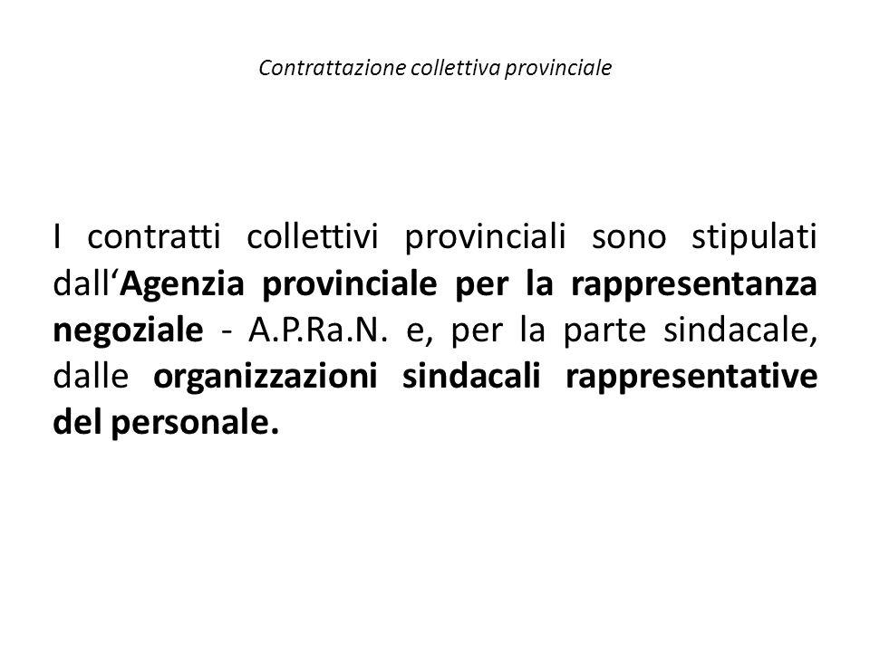 I contratti collettivi provinciali sono stipulati dall'Agenzia provinciale per la rappresentanza negoziale - A.P.Ra.N. e, per la parte sindacale, dall