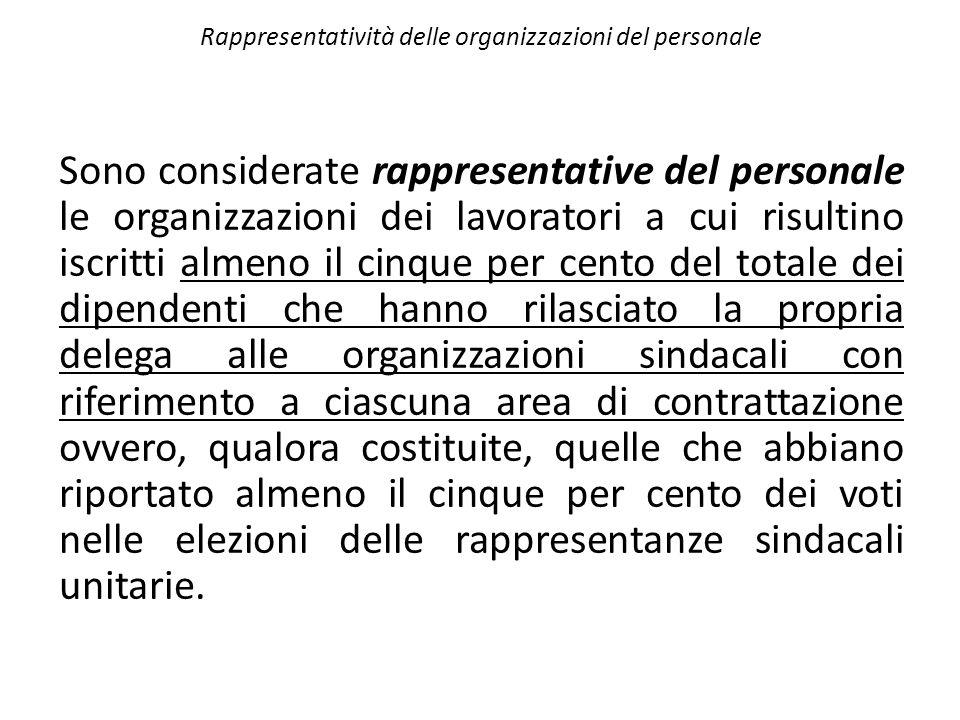 Rappresentatività delle organizzazioni del personale Sono considerate rappresentative del personale le organizzazioni dei lavoratori a cui risultino i