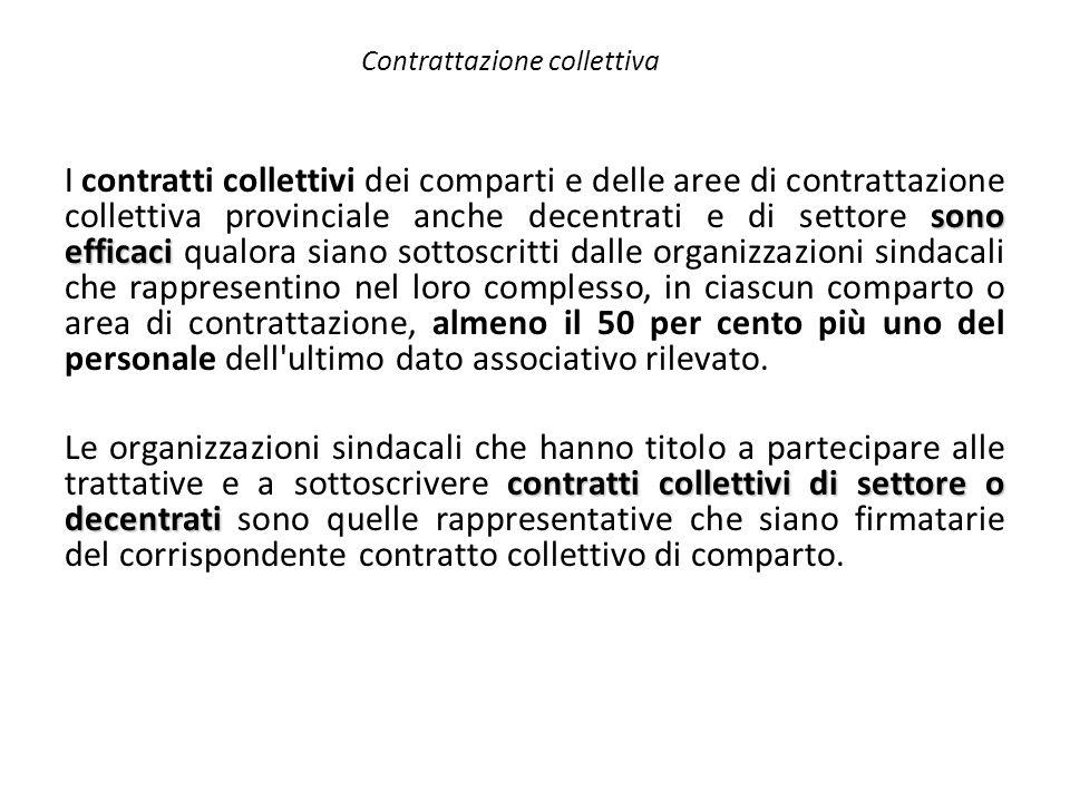 Contrattazione collettiva sono efficaci I contratti collettivi dei comparti e delle aree di contrattazione collettiva provinciale anche decentrati e d