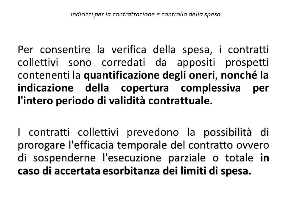Indirizzi per la contrattazione e controllo della spesa Per consentire la verifica della spesa, i contratti collettivi sono corredati da appositi pros