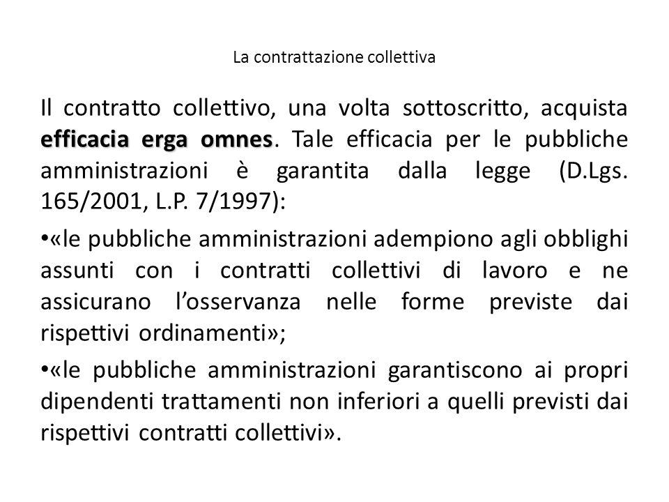 La contrattazione collettiva efficacia erga omnes Il contratto collettivo, una volta sottoscritto, acquista efficacia erga omnes. Tale efficacia per l