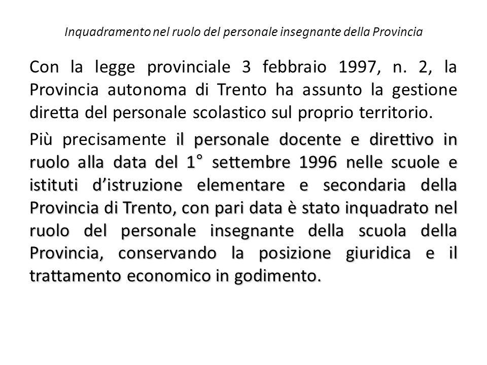 Inquadramento nel ruolo del personale insegnante della Provincia Con la legge provinciale 3 febbraio 1997, n. 2, la Provincia autonoma di Trento ha as