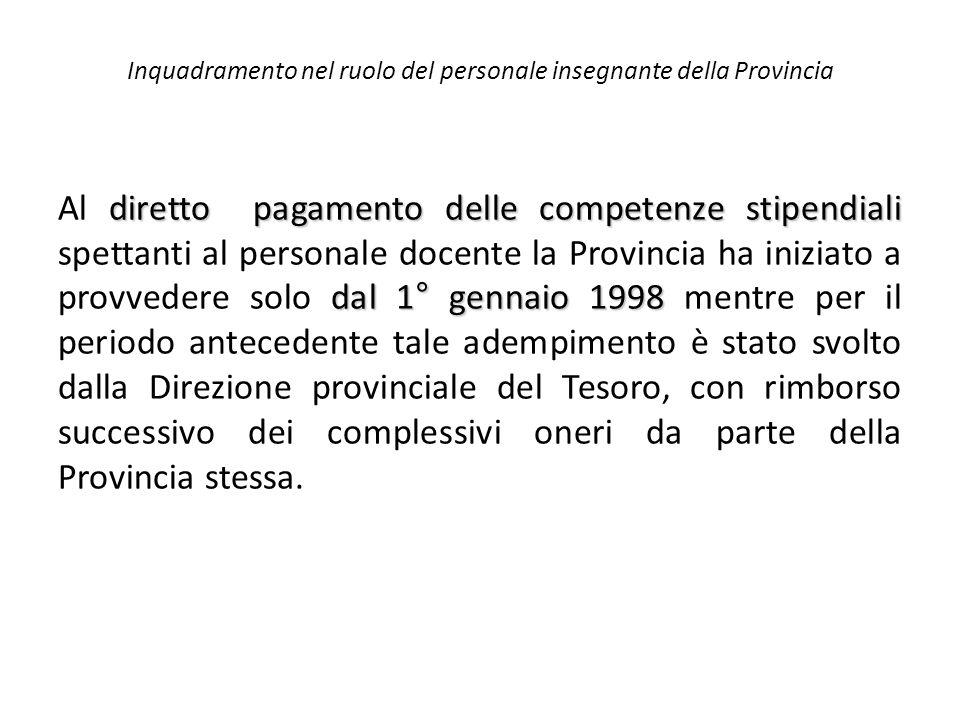 Inquadramento nel ruolo del personale insegnante della Provincia diretto pagamento delle competenze stipendiali dal 1° gennaio 1998 Al diretto pagamen