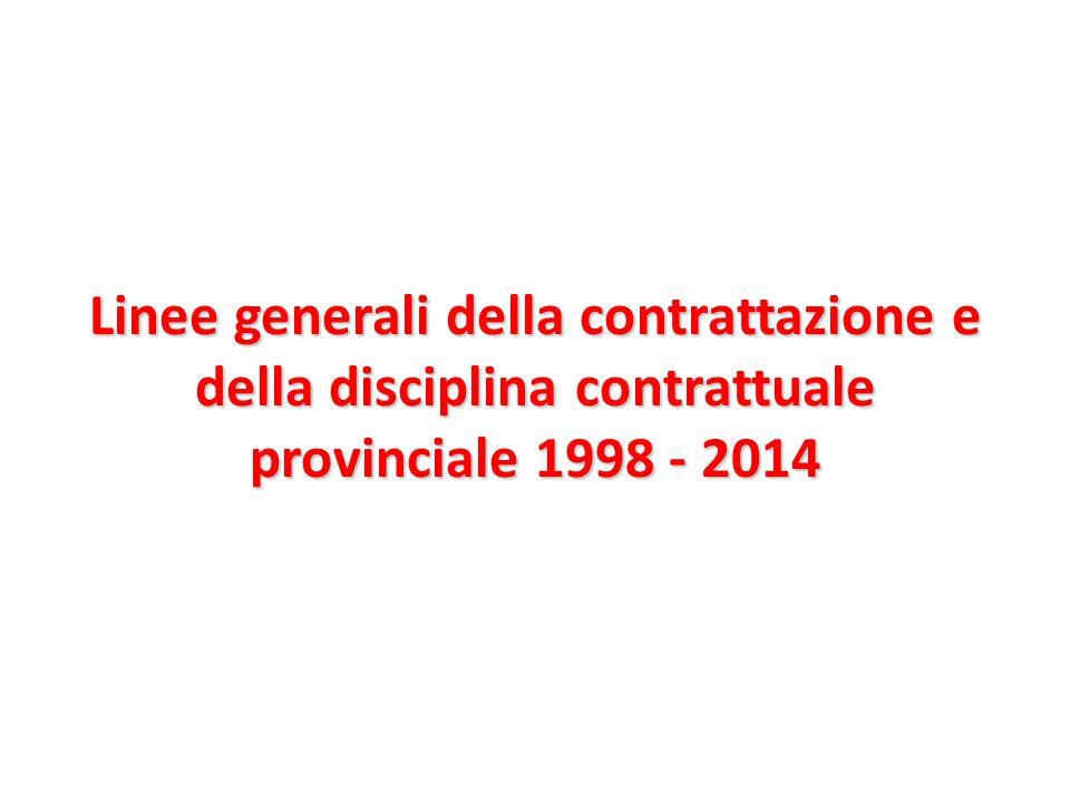 Linee generali della contrattazione e della disciplina contrattuale provinciale 1998 - 2014