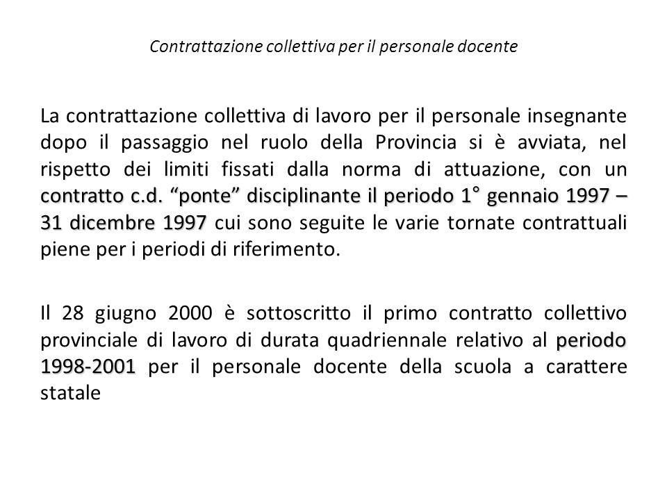 """Contrattazione collettiva per il personale docente contratto c.d. """"ponte"""" disciplinante il periodo 1° gennaio 1997 – 31 dicembre 1997 La contrattazion"""