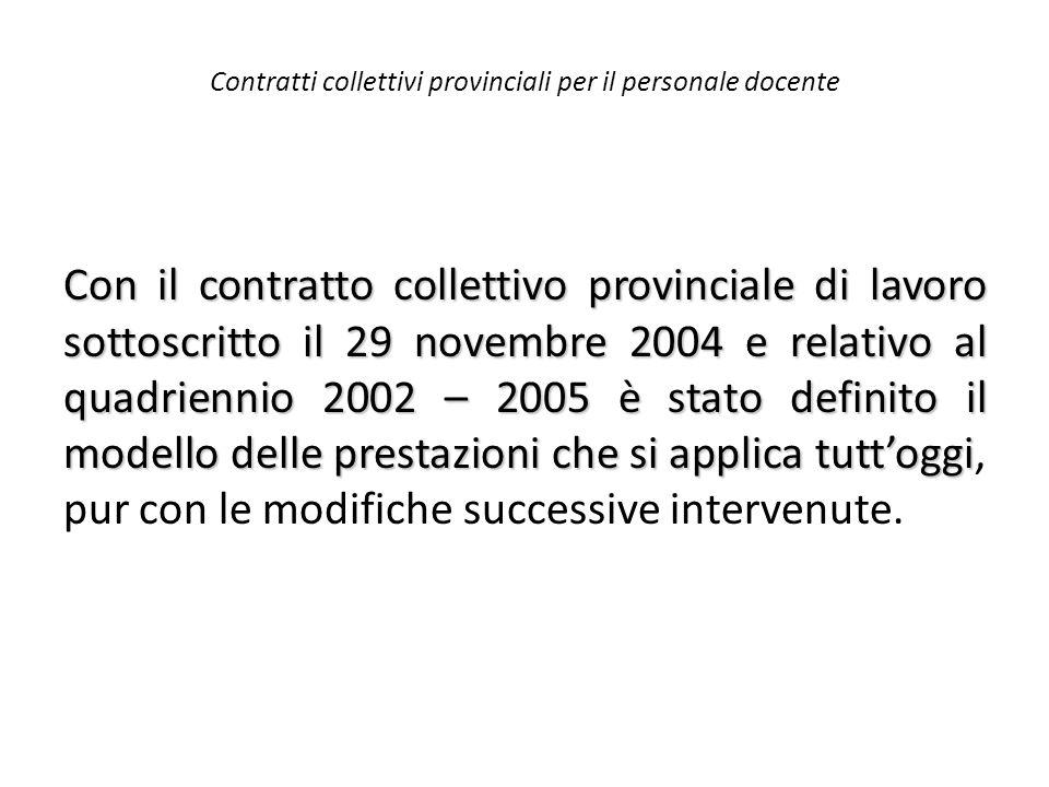 Contratti collettivi provinciali per il personale docente Con il contratto collettivo provinciale di lavoro sottoscritto il 29 novembre 2004 e relativ