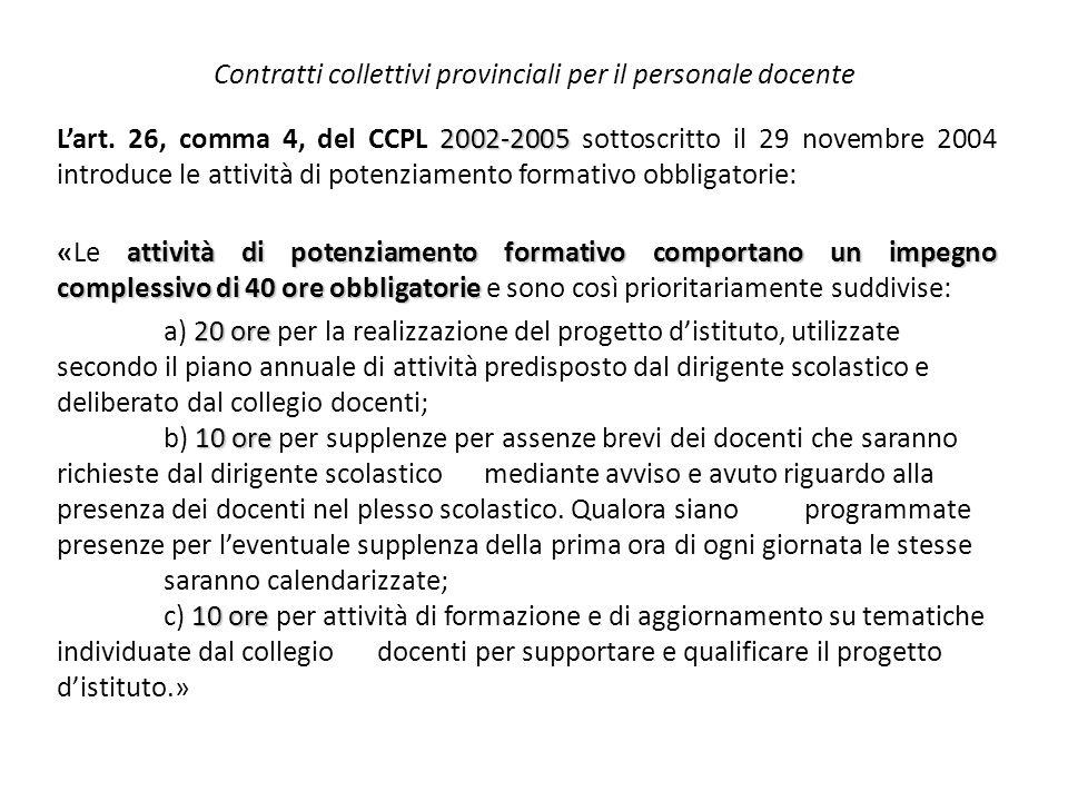 Contratti collettivi provinciali per il personale docente 2002-2005 L'art. 26, comma 4, del CCPL 2002-2005 sottoscritto il 29 novembre 2004 introduce