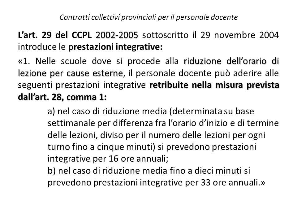 Contratti collettivi provinciali per il personale docente 2002-2005 p L'art. 29 del CCPL 2002-2005 sottoscritto il 29 novembre 2004 introduce le prest