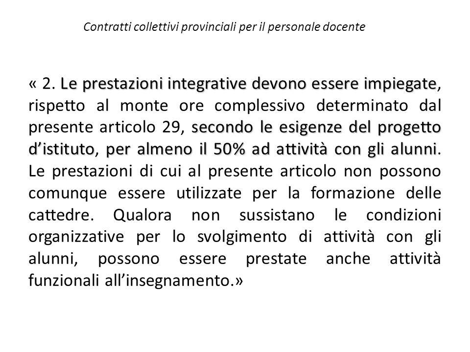 Contratti collettivi provinciali per il personale docente Le prestazioni integrative devono essere impiegate secondo le esigenze del progetto d'istitu