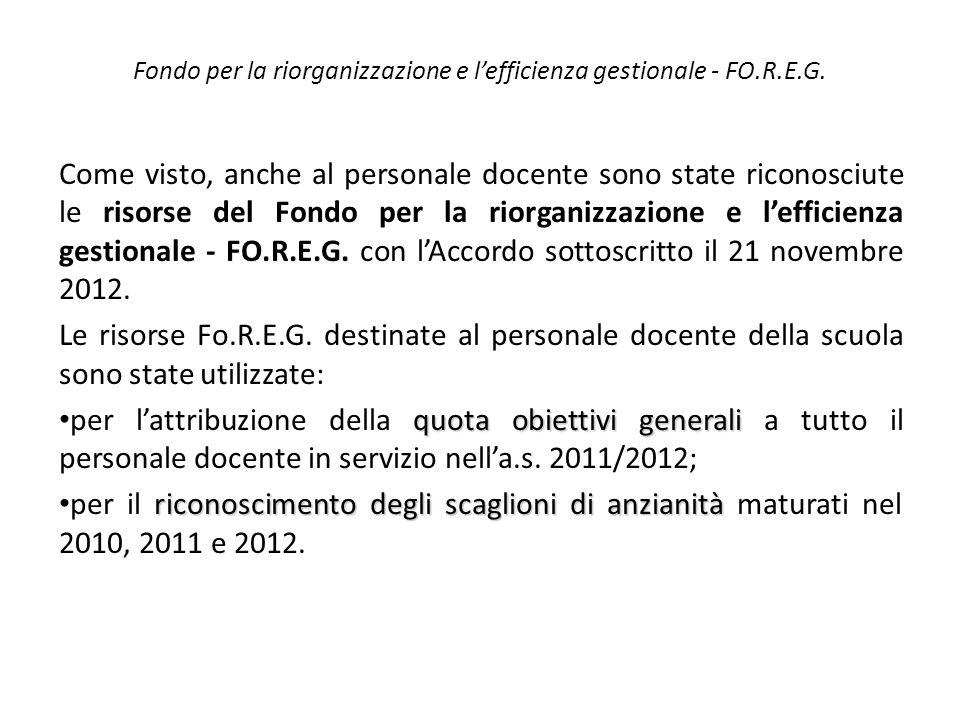 Fondo per la riorganizzazione e l'efficienza gestionale - FO.R.E.G. Come visto, anche al personale docente sono state riconosciute le risorse del Fond