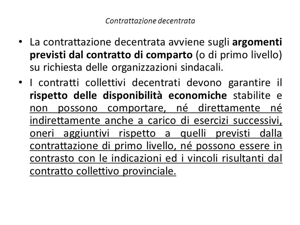 Contrattazione decentrata La contrattazione decentrata avviene sugli argomenti previsti dal contratto di comparto (o di primo livello) su richiesta de