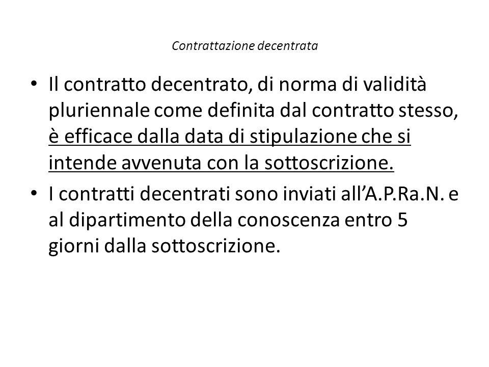 Contrattazione decentrata Il contratto decentrato, di norma di validità pluriennale come definita dal contratto stesso, è efficace dalla data di stipu