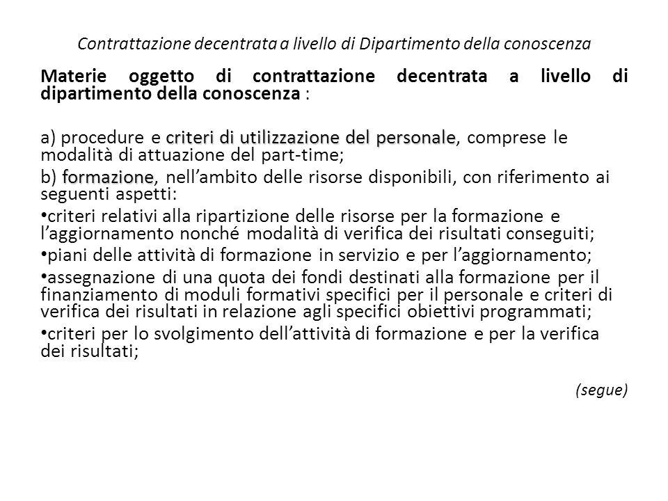 Contrattazione decentrata a livello di Dipartimento della conoscenza Materie oggetto di contrattazione decentrata a livello di dipartimento della cono