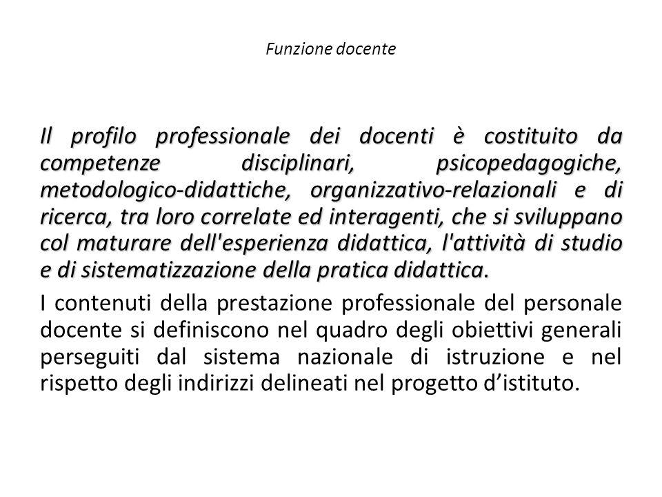 Funzione docente Il profilo professionale dei docenti è costituito da competenze disciplinari, psicopedagogiche, metodologico-didattiche, organizzativ