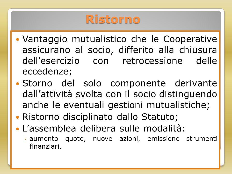 Ristorno Vantaggio mutualistico che le Cooperative assicurano al socio, differito alla chiusura dell'esercizio con retrocessione delle eccedenze; Stor