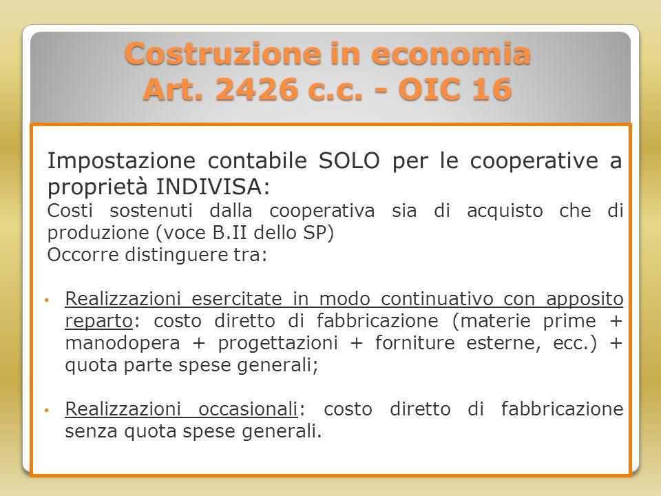 Costruzione in economia Art. 2426 c.c. - OIC 16 Impostazione contabile SOLO per le cooperative a proprietà INDIVISA: Costi sostenuti dalla cooperativa