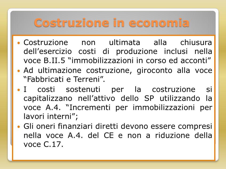 """Costruzione in economia Costruzione non ultimata alla chiusura dell'esercizio costi di produzione inclusi nella voce B.II.5 """"immobilizzazioni in corso"""