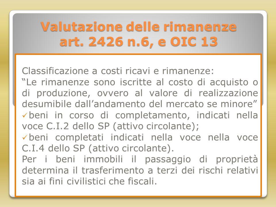 """Valutazione delle rimanenze art. 2426 n.6, e OIC 13 Classificazione a costi ricavi e rimanenze: """"Le rimanenze sono iscritte al costo di acquisto o di"""