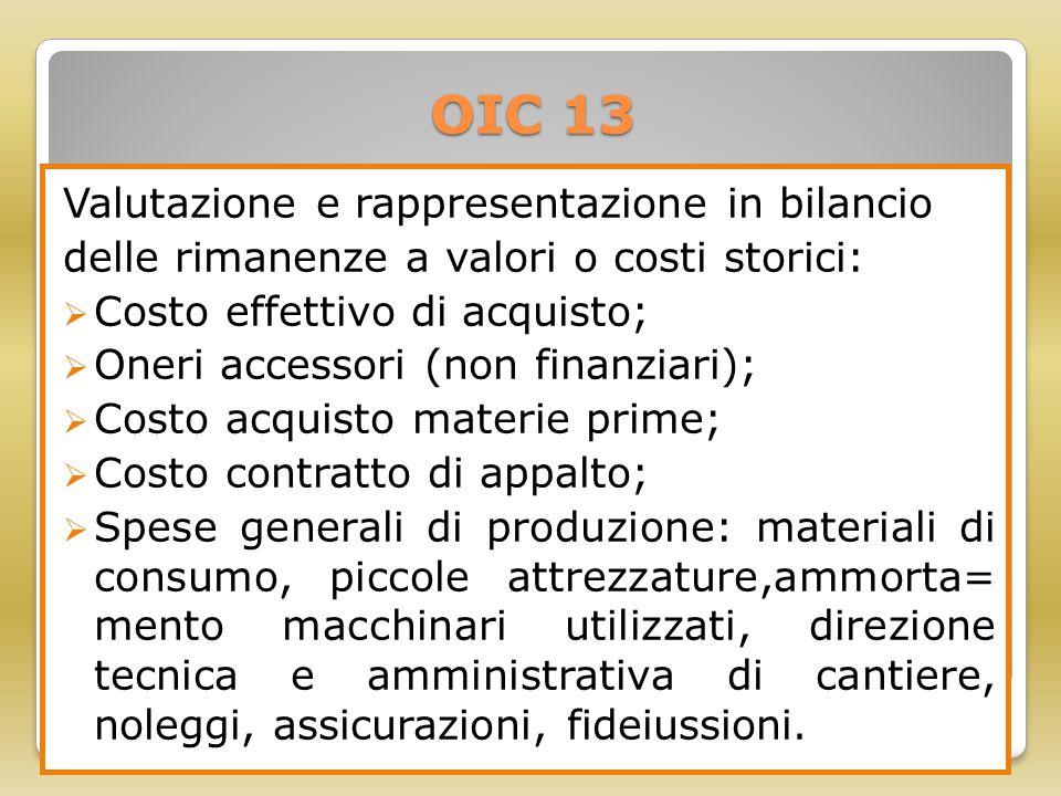 OIC 13 Valutazione e rappresentazione in bilancio delle rimanenze a valori o costi storici:  Costo effettivo di acquisto;  Oneri accessori (non fina
