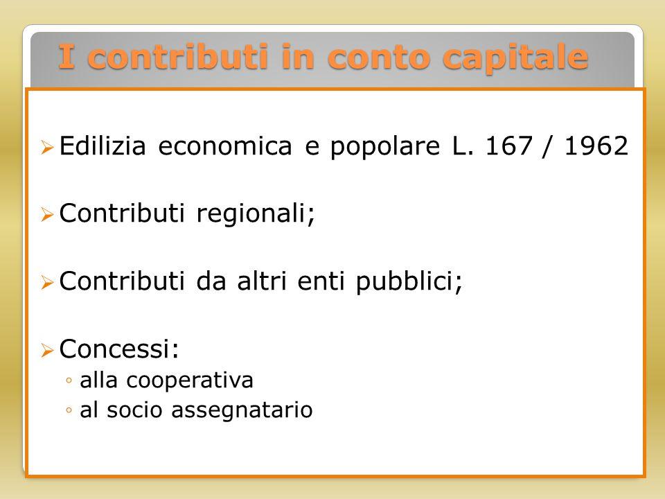 I contributi in conto capitale  Edilizia economica e popolare L. 167 / 1962  Contributi regionali;  Contributi da altri enti pubblici;  Concessi: