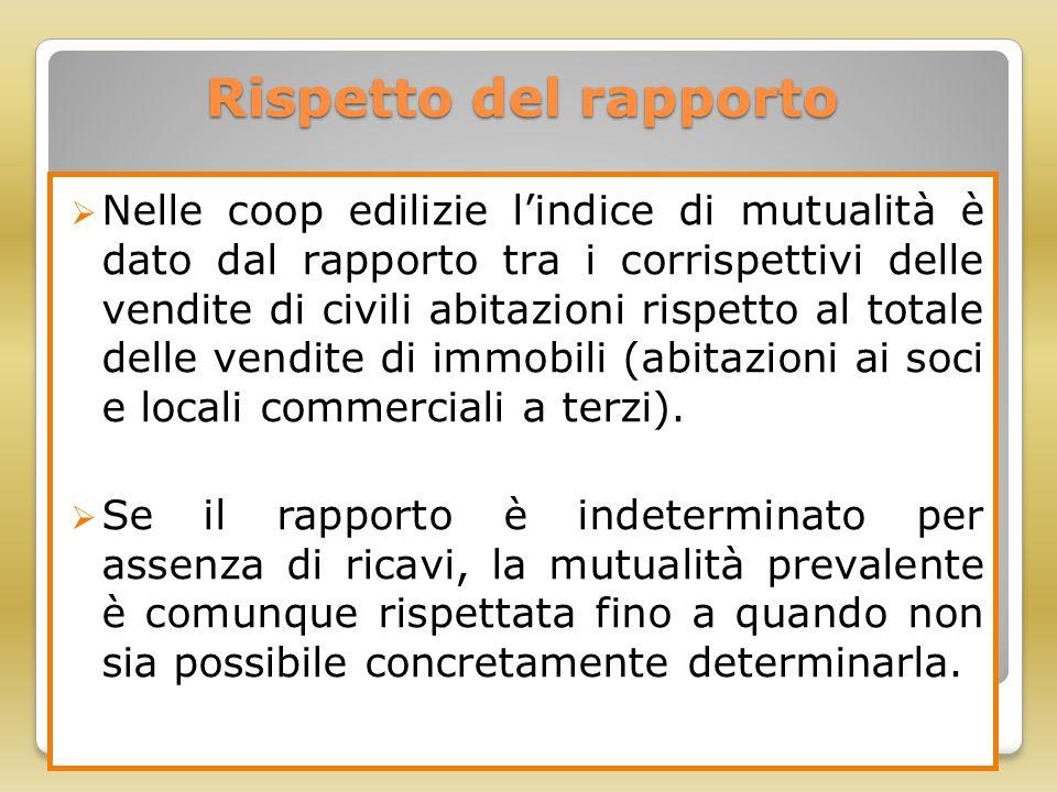 Rispetto del rapporto  Nelle coop edilizie l'indice di mutualità è dato dal rapporto tra i corrispettivi delle vendite di civili abitazioni rispetto