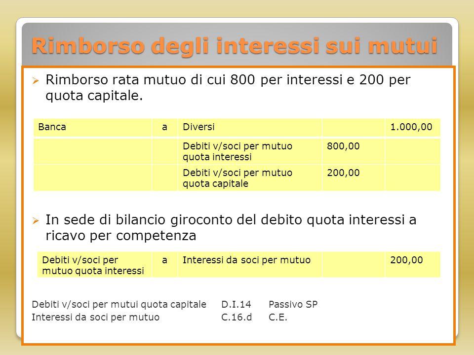 Rimborso degli interessi sui mutui  Rimborso rata mutuo di cui 800 per interessi e 200 per quota capitale.  In sede di bilancio giroconto del debito