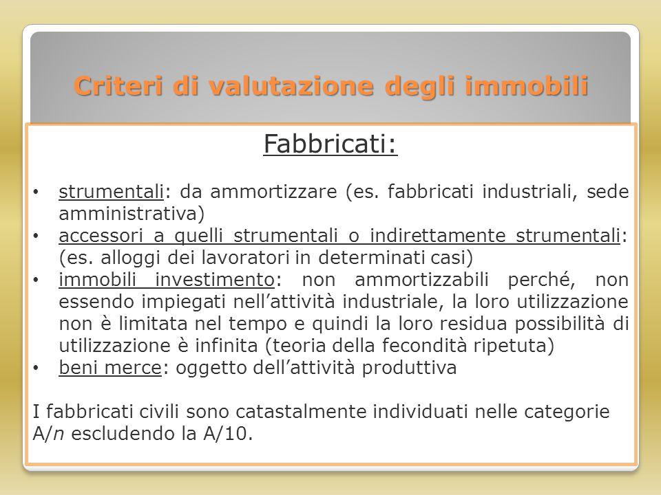 Criteri di valutazione degli immobili Fabbricati: strumentali: da ammortizzare (es. fabbricati industriali, sede amministrativa) accessori a quelli st
