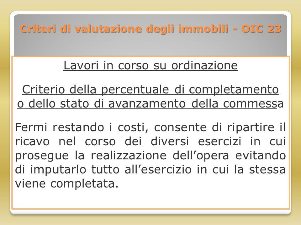 Criteri di valutazione degli immobili - OIC 23 Lavori in corso su ordinazione Criterio della percentuale di completamento o dello stato di avanzamento