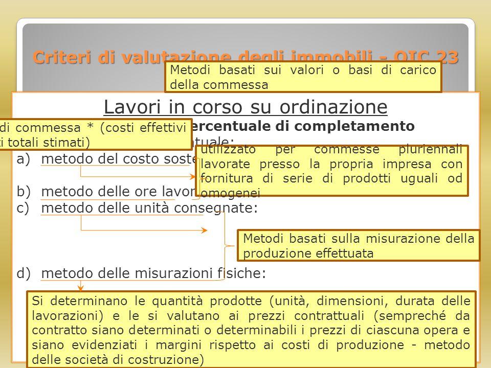 Criteri di valutazione degli immobili - OIC 23 Lavori in corso su ordinazione Criterio della percentuale di completamento Per determinare la percentua