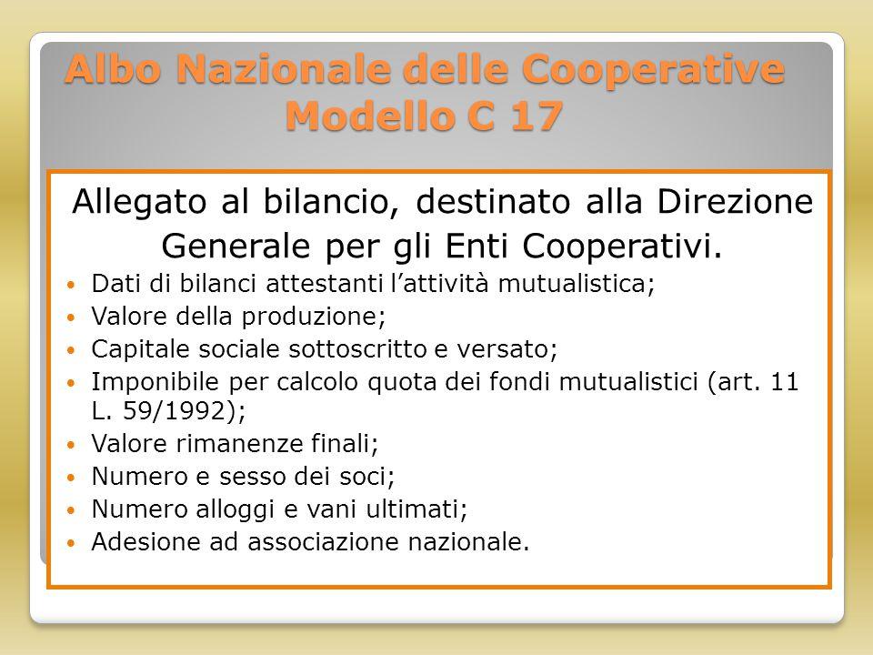 Albo Nazionale delle Cooperative Modello C 17 Allegato al bilancio, destinato alla Direzione Generale per gli Enti Cooperativi. Dati di bilanci attest