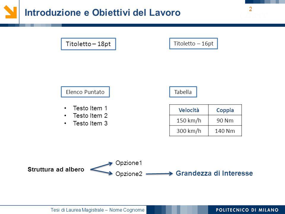 13 Tesi di Laurea Magistrale – Nome Cognome Sommario Introduzione e Obiettivi del Lavoro Parte 1 (es.