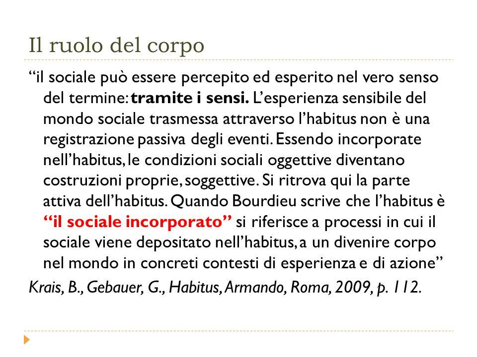 Il ruolo del corpo il sociale può essere percepito ed esperito nel vero senso del termine: tramite i sensi.