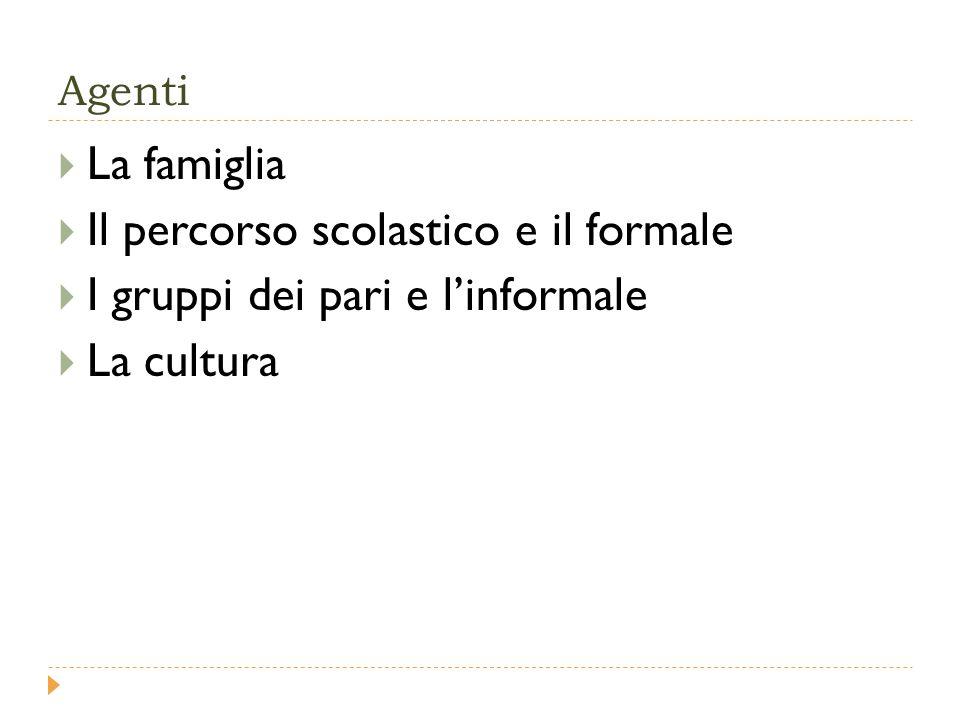 Agenti  La famiglia  Il percorso scolastico e il formale  I gruppi dei pari e l'informale  La cultura