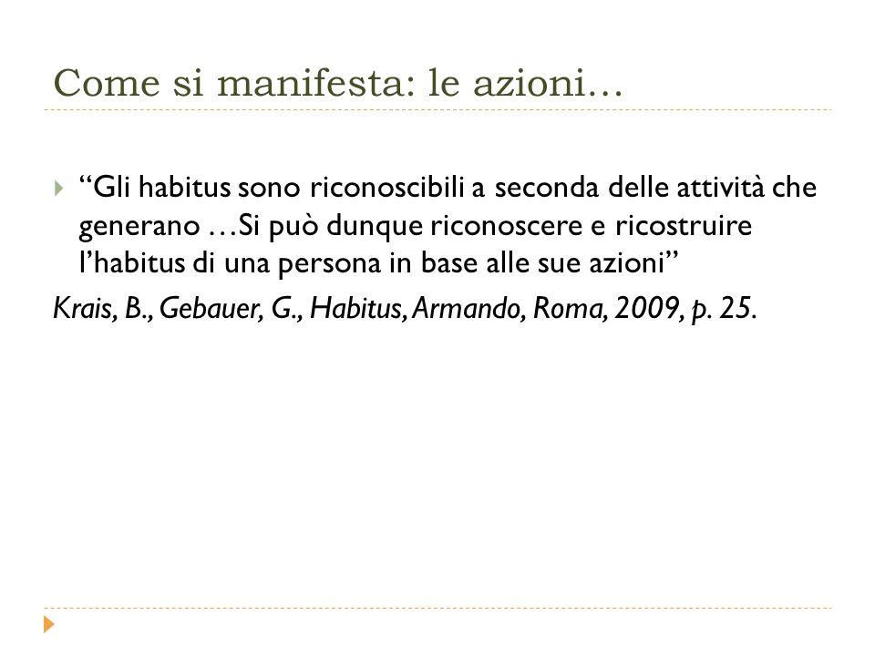 Come si manifesta: le azioni…  Gli habitus sono riconoscibili a seconda delle attività che generano …Si può dunque riconoscere e ricostruire l'habitus di una persona in base alle sue azioni Krais, B., Gebauer, G., Habitus, Armando, Roma, 2009, p.