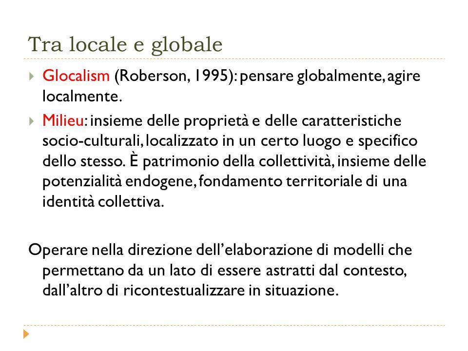 Tra locale e globale  Glocalism (Roberson, 1995): pensare globalmente, agire localmente.
