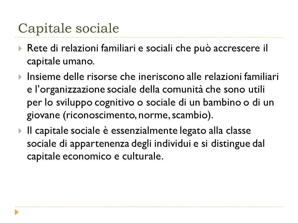 Capitale sociale  Rete di relazioni familiari e sociali che può accrescere il capitale umano.