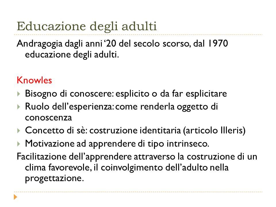Educazione degli adulti Andragogia dagli anni '20 del secolo scorso, dal 1970 educazione degli adulti.