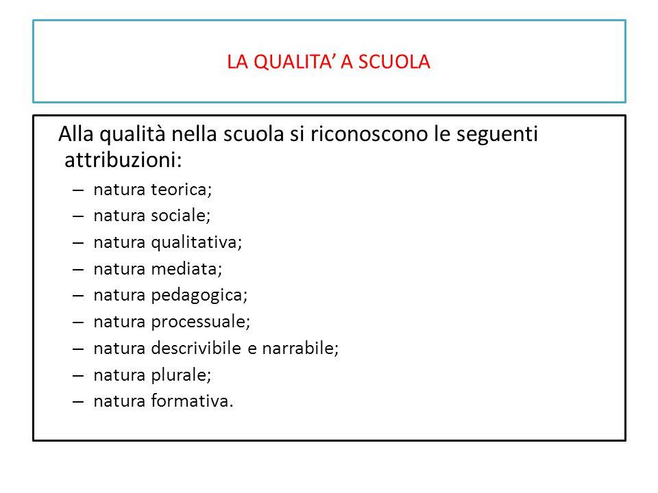 LA QUALITA' A SCUOLA Alla qualità nella scuola si riconoscono le seguenti attribuzioni: – natura teorica; – natura sociale; – natura qualitativa; – na