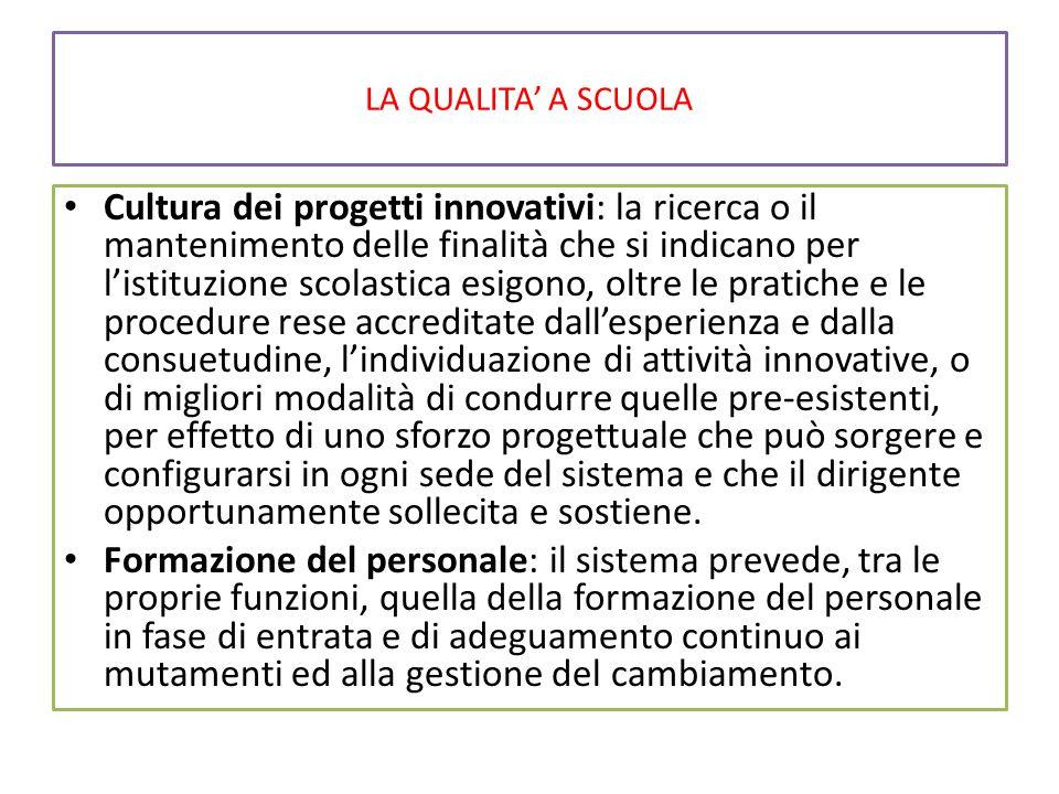 LA QUALITA' A SCUOLA Cultura dei progetti innovativi: la ricerca o il mantenimento delle finalità che si indicano per l'istituzione scolastica esigono
