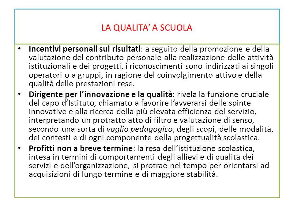 LA QUALITA' A SCUOLA Incentivi personali sui risultati: a seguito della promozione e della valutazione del contributo personale alla realizzazione del