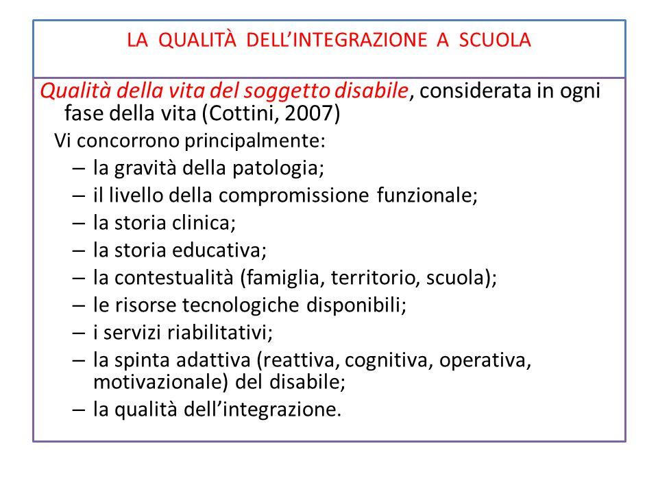 LA QUALITÀ DELL'INTEGRAZIONE A SCUOLA Qualità della vita del soggetto disabile, considerata in ogni fase della vita (Cottini, 2007) Vi concorrono prin