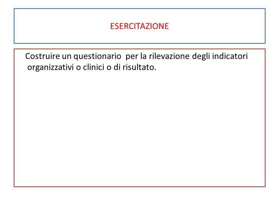 ESERCITAZIONE Costruire un questionario per la rilevazione degli indicatori organizzativi o clinici o di risultato.