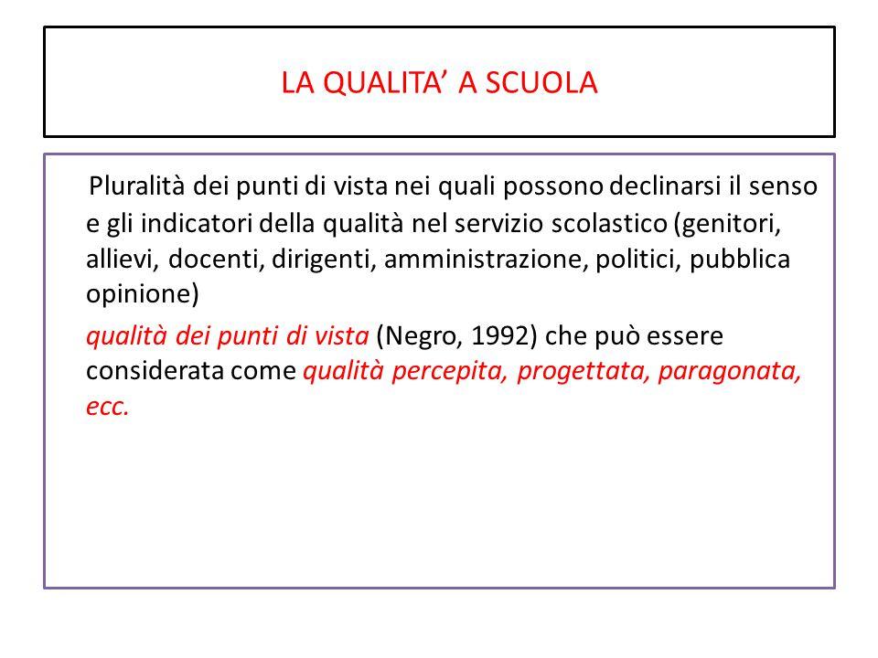 LA QUALITA' A SCUOLA Pluralità dei punti di vista nei quali possono declinarsi il senso e gli indicatori della qualità nel servizio scolastico (genito
