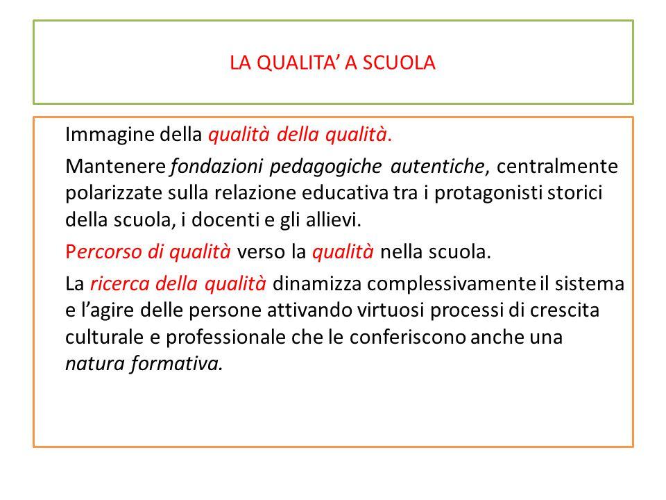 LA QUALITA' A SCUOLA Immagine della qualità della qualità. Mantenere fondazioni pedagogiche autentiche, centralmente polarizzate sulla relazione educa