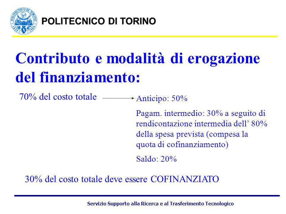 Servizio Supporto alla Ricerca e al Trasferimento Tecnologico Contributo e modalità di erogazione del finanziamento: Anticipo: 50% Pagam.