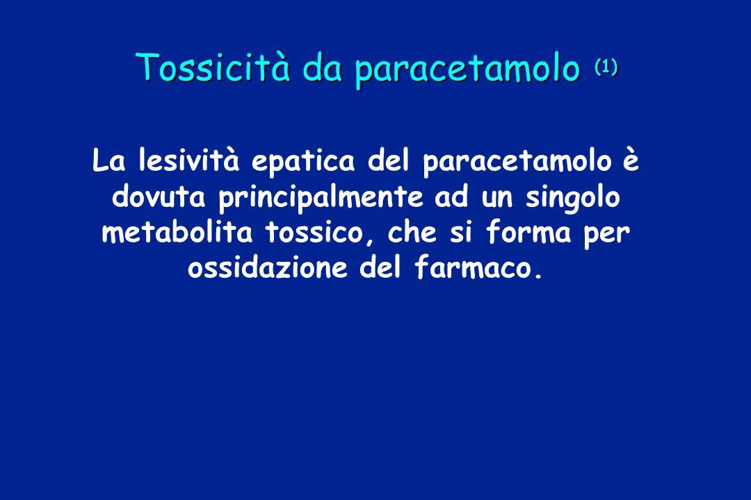 Tossicità da paracetamolo (1) La lesività epatica del paracetamolo è dovuta principalmente ad un singolo metabolita tossico, che si forma per ossidazi