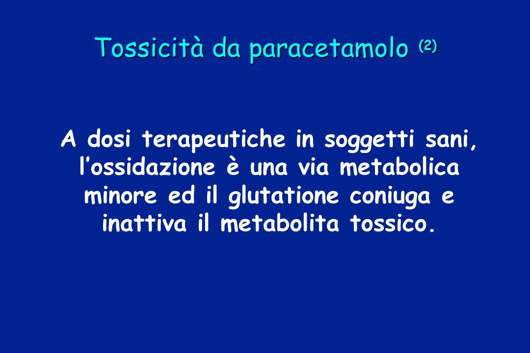 Tossicità da paracetamolo (2) A dosi terapeutiche in soggetti sani, l'ossidazione è una via metabolica minore ed il glutatione coniuga e inattiva il m