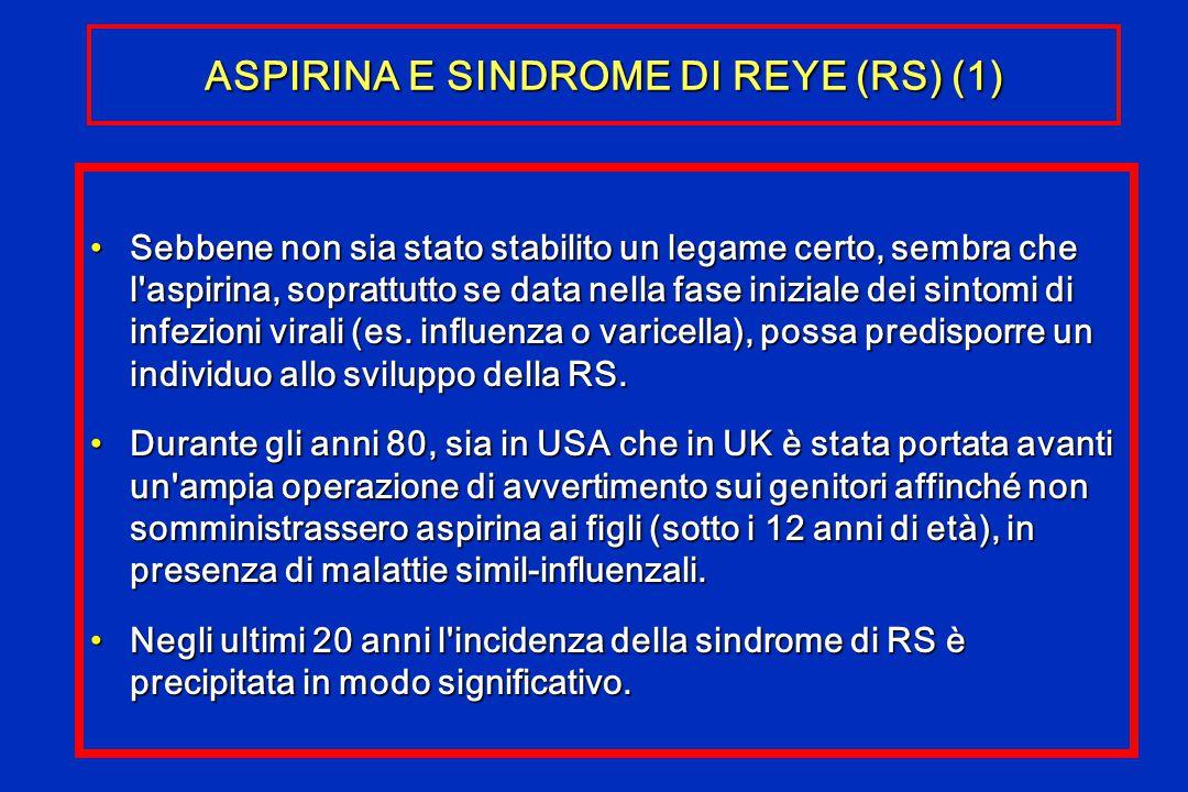 ASPIRINA E SINDROME DI REYE (RS) (1) Sebbene non sia stato stabilito un legame certo, sembra che l'aspirina, soprattutto se data nella fase iniziale d